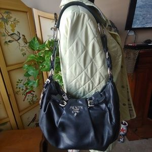 Prada black leather purse